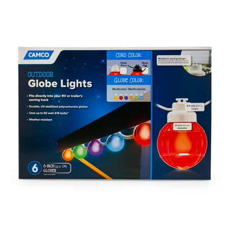 Camco Decorative RV Awning Globe Lights - 6 Multicolor ...