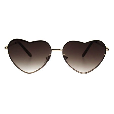 Womens Luxury Rimless Flat Panel Valentine Heart Sunglasses Gold Brown ()