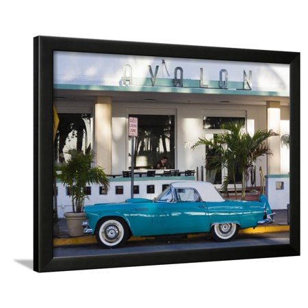 Usa Miami Beach South Ocean Drive Avalon Hotel And 1957 Thunderbird Car Framed Print Wall Art By Walter Bibikow