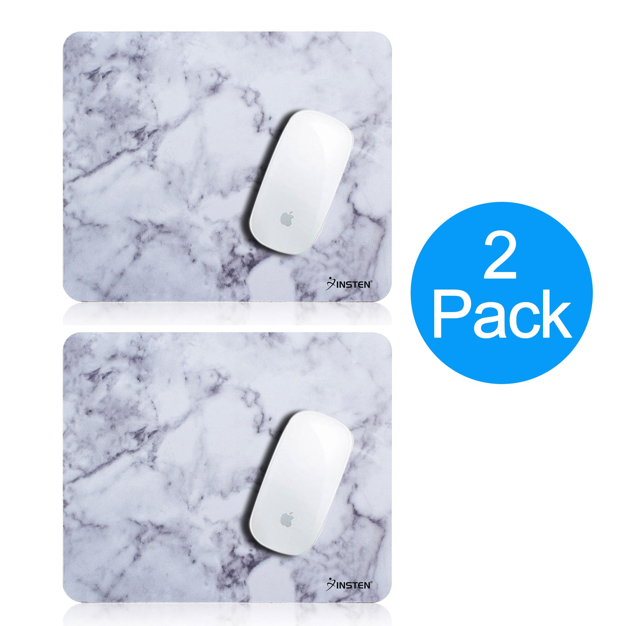 2 Pack Insten Marble Patterned Mouse Pad with Nonskid Rubber Base Waterproof Coating Mousepad Mat for Computer Desk PC Gaming (8.6 inch x 7 inch) Marble White