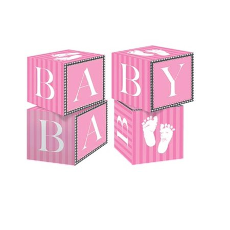 Club Pack of 24 Pink Sweet Baby Feet Building Blocks Centerpiece Party Decorations 4.5