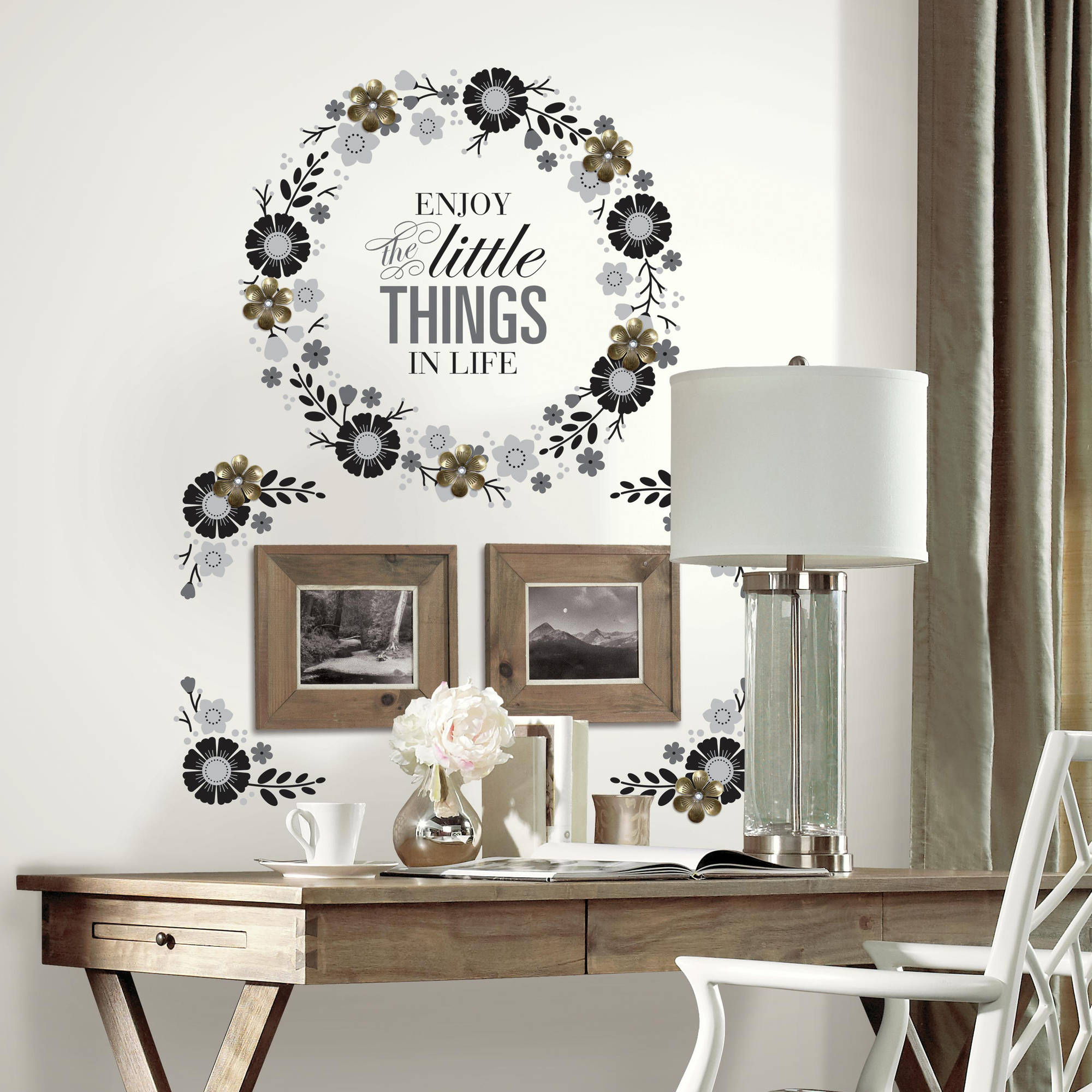 Roommates Floral Wreath Quote with Embellishments Peel and Stick Giant Wall Decals