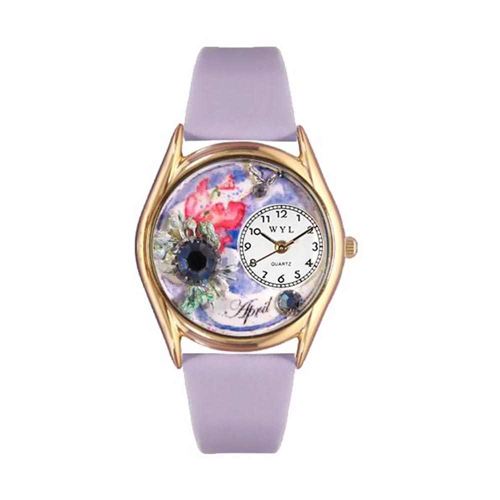 Whimsical Watches Women's Birthstone: April Red Leather and Gold Tone Watch