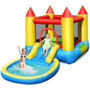 Costway Inflatable Bounce House Kids Slide Jumping Castle Bouncer w/ balls Pool & Bag