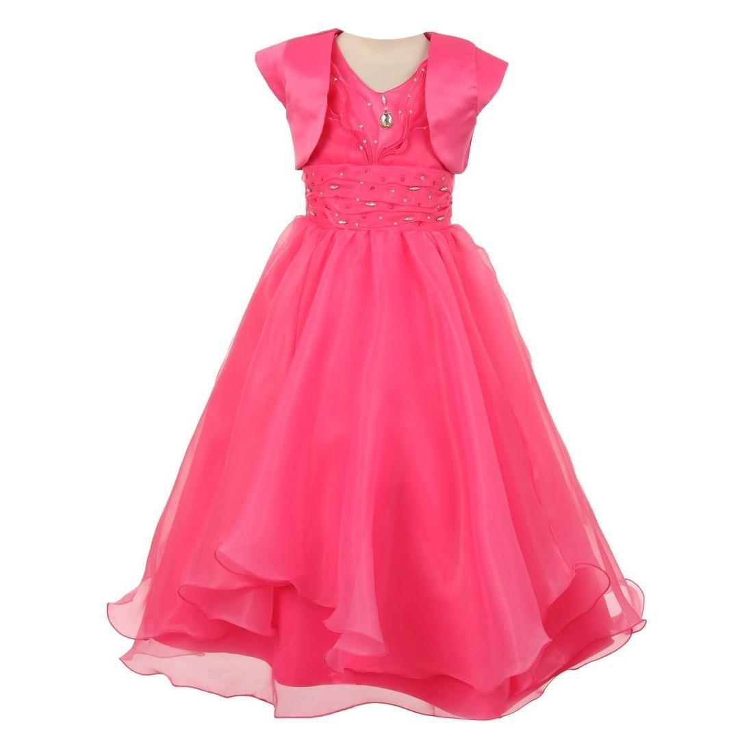 Chic Baby Big Girls Fuchsia Ruffle Satin Bolero Junior Bridesmaid Dress 12