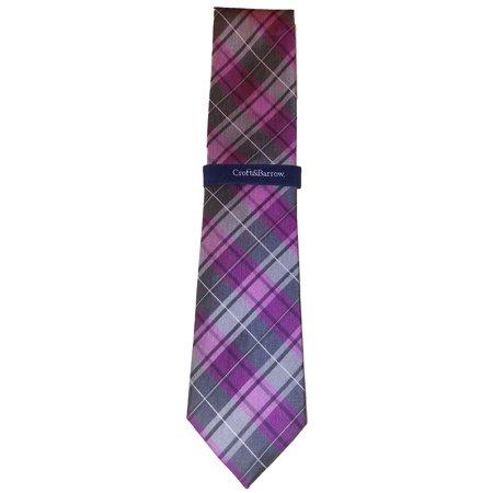 Croft & Barrow Men Plaid Pink Grey Tie