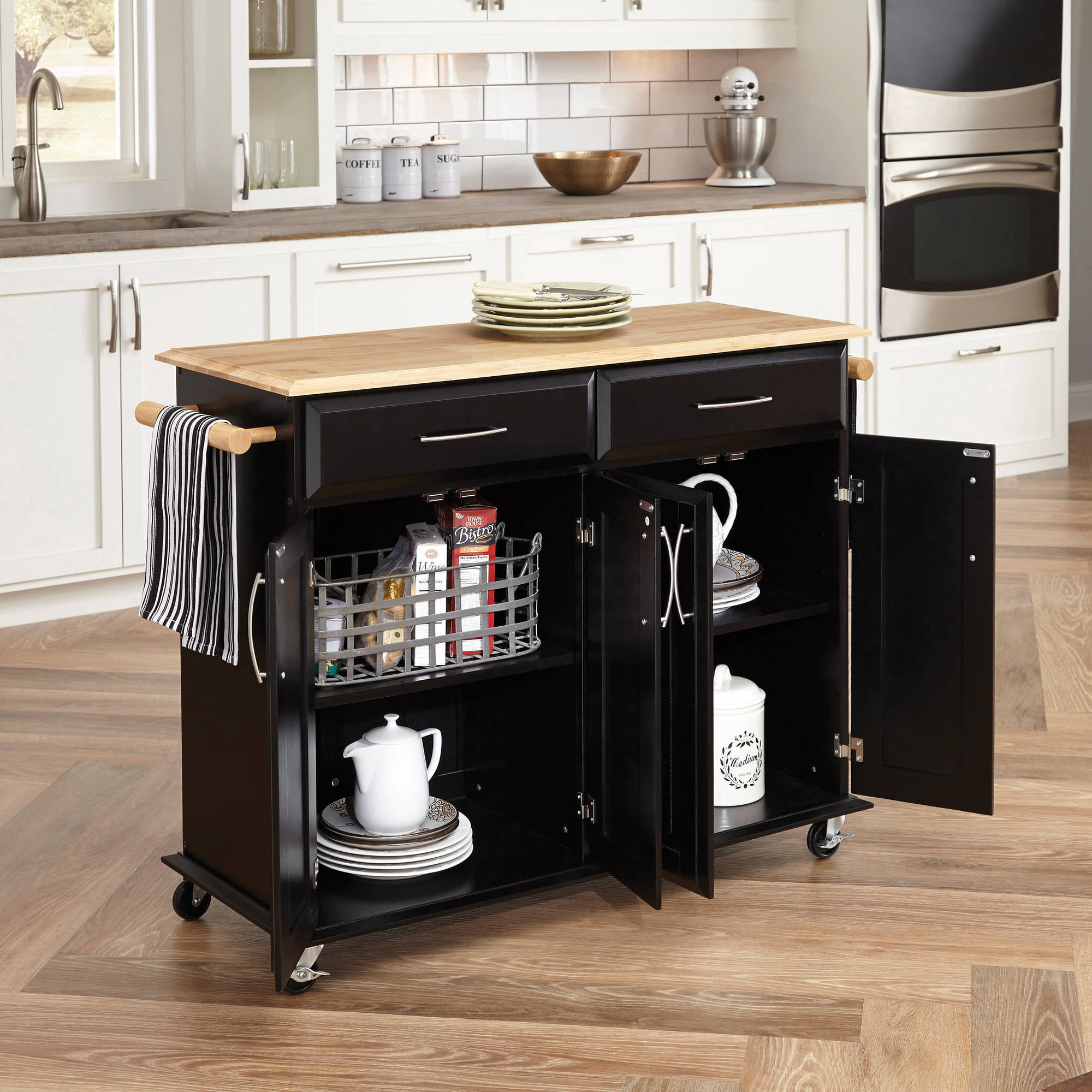 Home Styles Dolly Madison Black Island Cart Walmartcom - Kitchen island cart walmart
