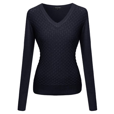Textured Knit Top - FashionOutfit Women's Mermaid Texture Patterned V-Neck Cotton Based Knit Sweater