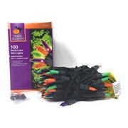 100 Ct Halloween String Light Set, Orange, Green, Purple, Black Cord