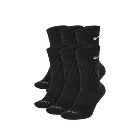 Nike Everyday Plus Cushion Crew Black/White Socks - 6 Pair Pack SX6897-010 Nike Cotton Socks