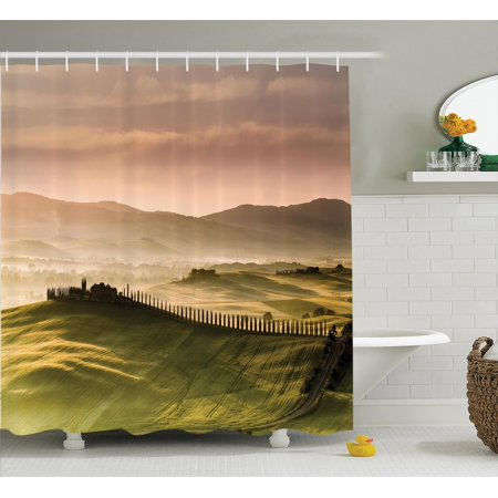 Tuscan Decor Shower Curtain Set, Italian Countryside Road With Trees And Meadows By The Mountains Mediterranean Culture, Bathroom Accessories, 69W X 70L Inches, By Ambesonne