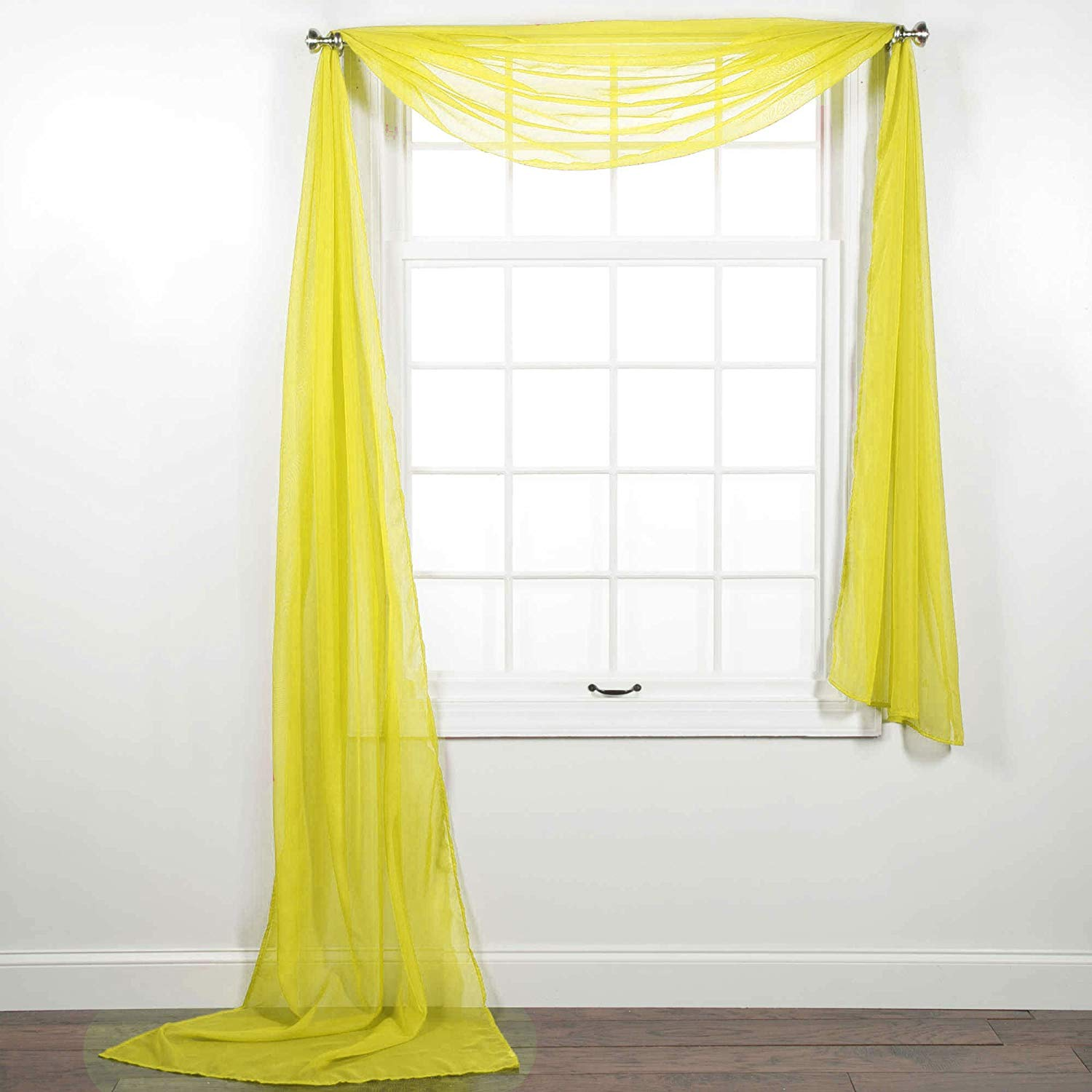 1pc Solid Sheer Scarf Valance Topper Curtain Drape In 216 For Wedding Quinceniera Gender Reveal Baby Shower Birthday Party Decor In Multiple Colors Yellow Walmart Com Walmart Com