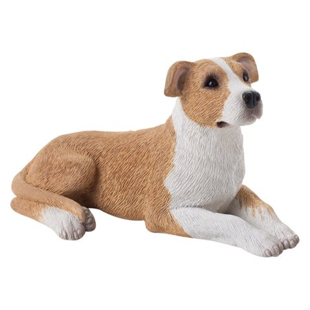 Sandicast Small Size Fawn/White Pit Bull Terrier Sculpture