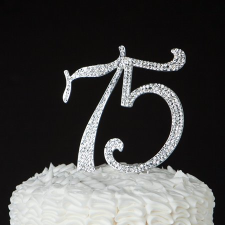 75 Cake Topper for 75th Birthday or Anniversary Party Crystal Rhinestone Number Decoration (Silver) - Birthday Numbers