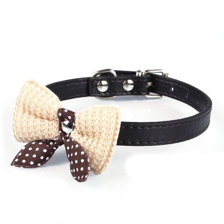 Outtop Knit Bowknot Adjustable Leather Dog Puppy Pet Collars Necklace BK - Knit Mandarin Collar