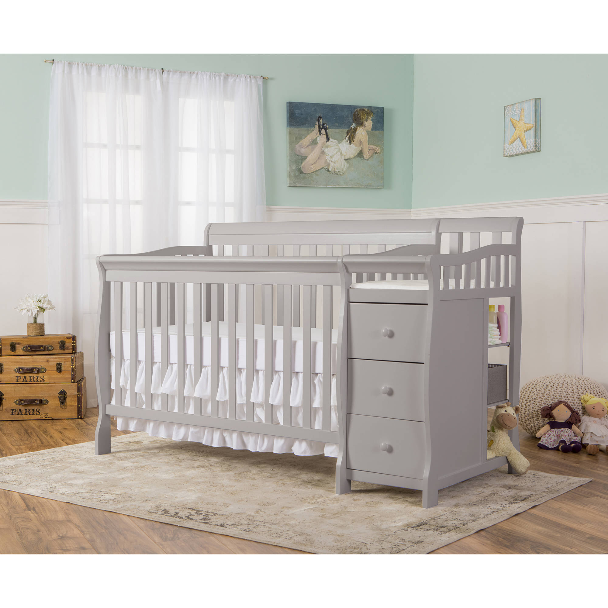 Dream On Me Brody 5-in-1 Crib & Changer Combo Pearl Gray Box 1 of 2 by Dream On Me