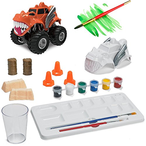 Prextex Paint Craft, Make And Paint Your Own Monster Truck 15 PC Craft kit Set a Creative Christmas Craft Toy for Boys