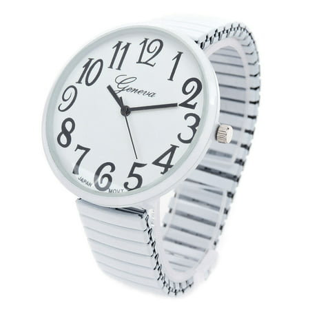 White Super Large Face Easy to Read Stretch Band Watch (Womens Large Faced Watches)