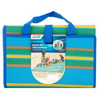 "Camco 60""x 78"" Handy Mat with Carrying Strap - Blue/Green Stripe (42815)"