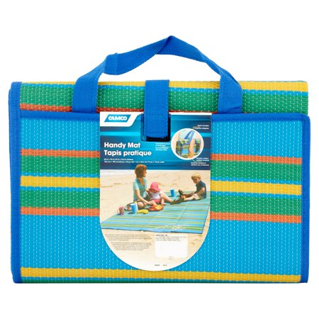 Camco Handy Mat with Carrying Strap, Perfect Picnics, Beaches, RV Outings, Weather-Proof Mold and Mildew Resistant (Blue/Green - 60