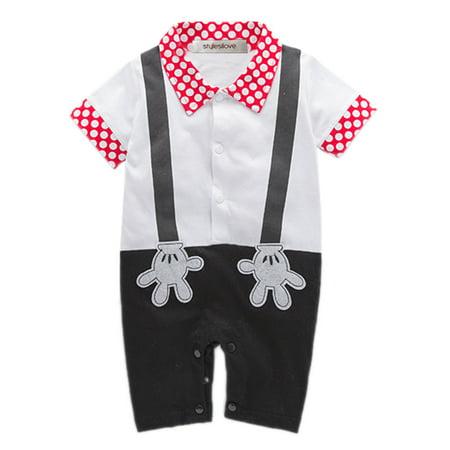 67fede8fa Bilo - Baby Boy Mickey Mouse Faux Suspender Costume Romper (18-24 Months) -  Walmart.com