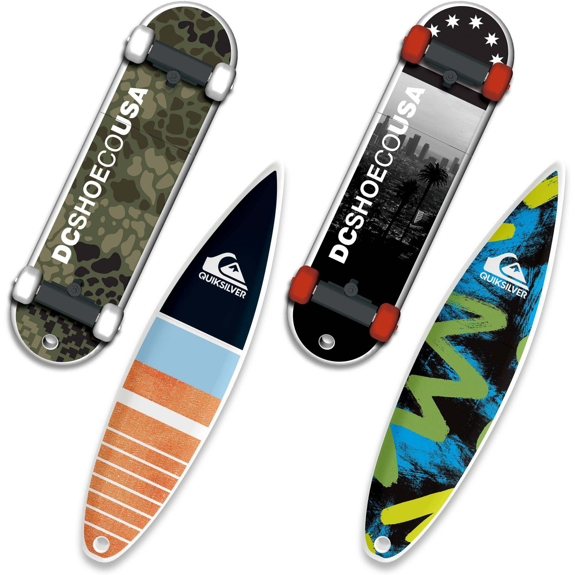 8GB EP ASD USB, DC Shoes SkateDrive and Quiksilver SurfDrive, 4-Pack