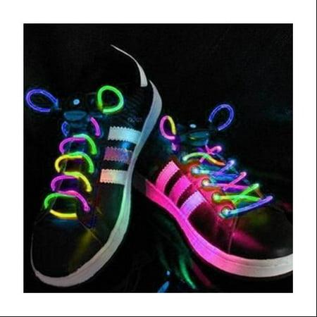 AGPtek Colorful 3 Mode LED Light Up Shoe Shoelaces Shoestring Flash Glow Stick Strap For Party Hip-hop Skating Running - Led Shoelaces