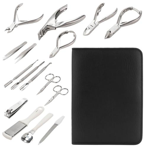 Salon Professional 16pc Manicure Pedicure Kit with Case Nail Clippers File, KMK-16