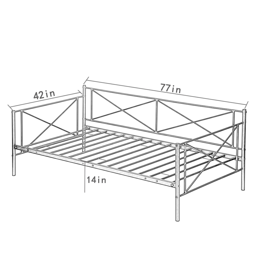 Daybed Frame Metal Platform Bed Heavy Duty Steel Slats Twin Box