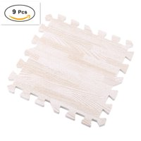 9pcs Wood Grain Floor Mat 0.4 inch Thick Interlocking Flooring Tiles with Borders for Exercise Fitness Gym Soft Yoga Trade Show Play Room-3 Colors to Choose From