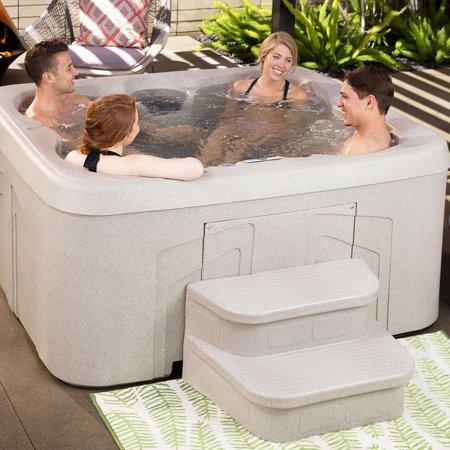 LifeSmart 2 Step Non Slip Rectangle Square Spa Hot Tub Straight Steps, (2 Pack) - image 2 de 6