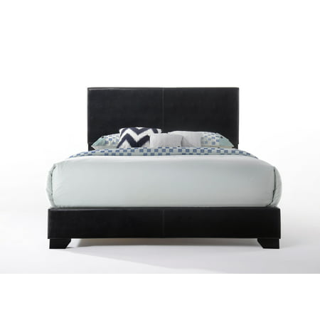 Acme Ireland Full Faux Leather Bed, Black (Full Size Captains Bed With Under Bed Storage)