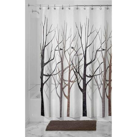 """InterDesign Forest Fabric Shower Curtain, 72"""" x 72"""", Black/G"""
