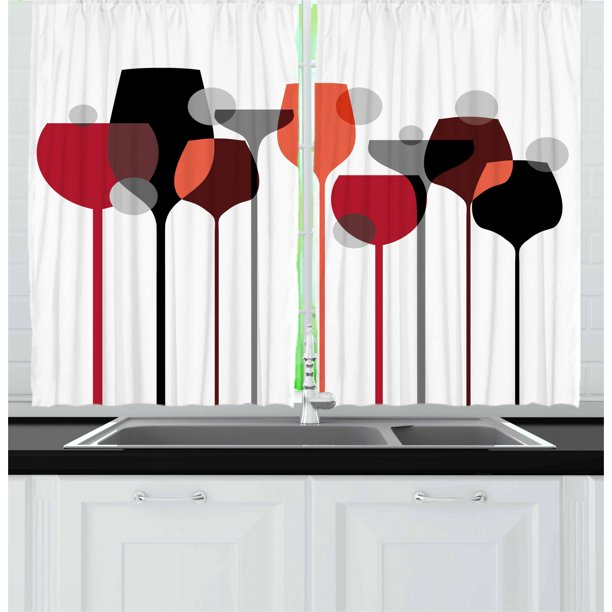 Wine Curtains 2 Panels Set Stylized Abstract Wine Glasses Silhouettes With Dots Alcohol Drink Modern Artistic Window Drapes For Living Room Bedroom 55w X 39l Inches Red Grey Black By Ambesonne