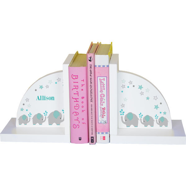 Personalized Grey and Teal Elephant Childrens Bookends