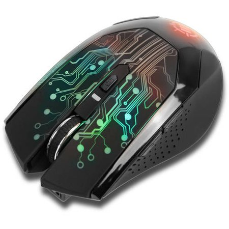 ENHANCE Wireless Optical Gaming Mouse with 3500 DPI & 7 Color Changing LED Lights - Perfect for Alienware, ACER, ASUS, CyberPowerPC, HP, MSI & More Gaming Laptops / Desktops!