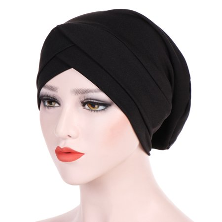 Cross Colors Hat (KABOER 10 Colors Women's Elegant Stretch Forehead Cross Indian Hat ,Modal Hooded Cap Muslim)