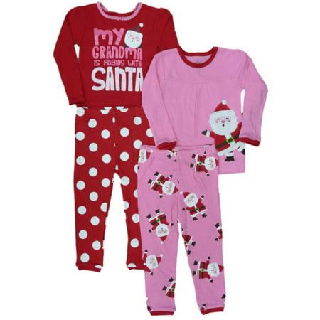 Carters Infant Toddler Girls 2 Pack Santa Sleepwear Pink Red Pajamas PJ 4 PC ()