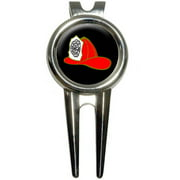 Fire Fighter Helmet/Fire Department on Black Golf Divot Repair Tool and Ball Marker