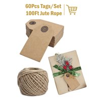 LaRibbons 60Pcs Christmas Brown Kraft Paper Gifts Tags with 100 Ft Natural Jute Twine for Wedding,Party 6Pcs/Pack
