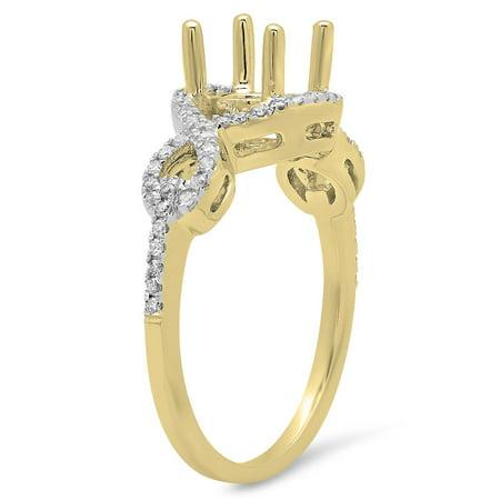 Dazzlingrock Collection 0.25 Carat (ctw) 14K Round Diamond Swirl Bridal Semi Mount Engagement Ring 1/4 CT, Yellow Gold, Size (14k Diamond Swirl)
