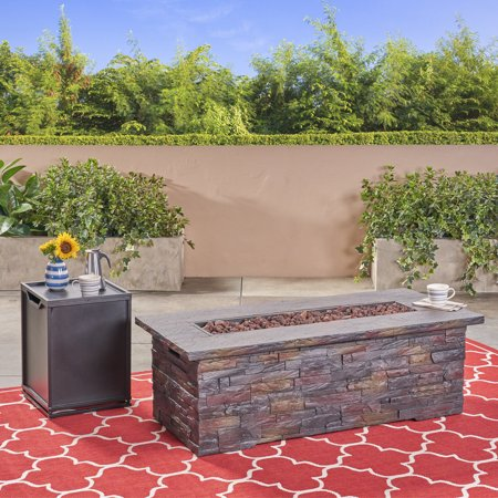 Louie Outdoor Light Weight Concrete Rectangular Fire Pit