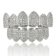 JINAO 18K Gold Plated Macro Pave CZ Iced-Out Grillz with Extra Molding Bars Included (Silver Set)*** Size