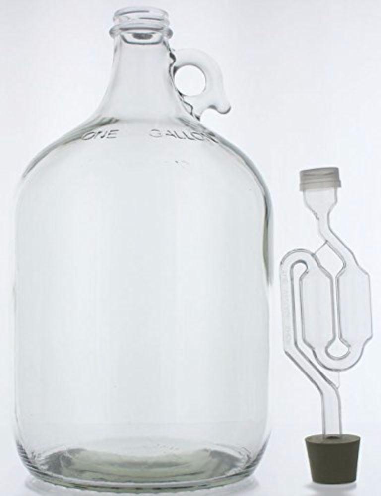1 Gallon Glass Wine Fermenter-INCLUDES Rubber Stopper and Twin Bubble Airlock by Home Brew Ohio