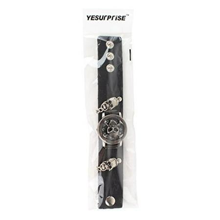 Yesurprise Fashion Men Punk Skull Skeleton Leather Band Unisex Bracelet Wrist