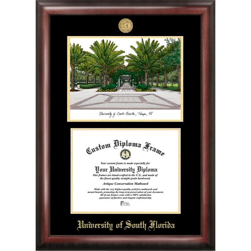 """University of South Florida 8.5"""" x 11"""" Gold Embossed Diploma Frame with Campus Images Lithograph"""