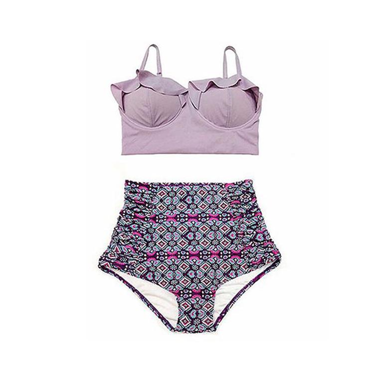 Women's Vintage Print Ruffles High Waist Plus Size Bikini Swimsuits, 9 Colors, S-3XL
