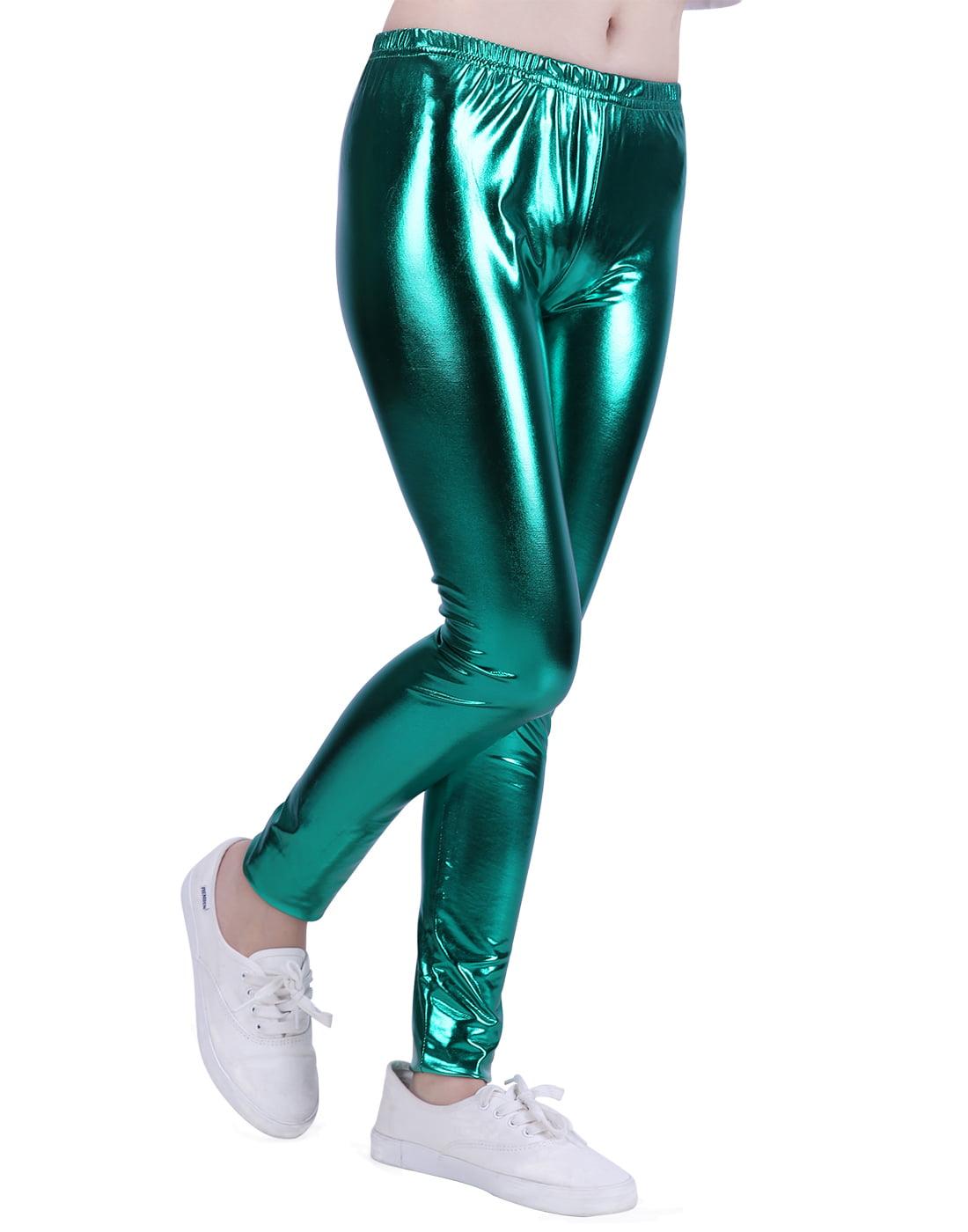 HDE Girls Shiny Wet Look Leggings Kids Liquid Metallic Footless Tights (Silver, 4/5)