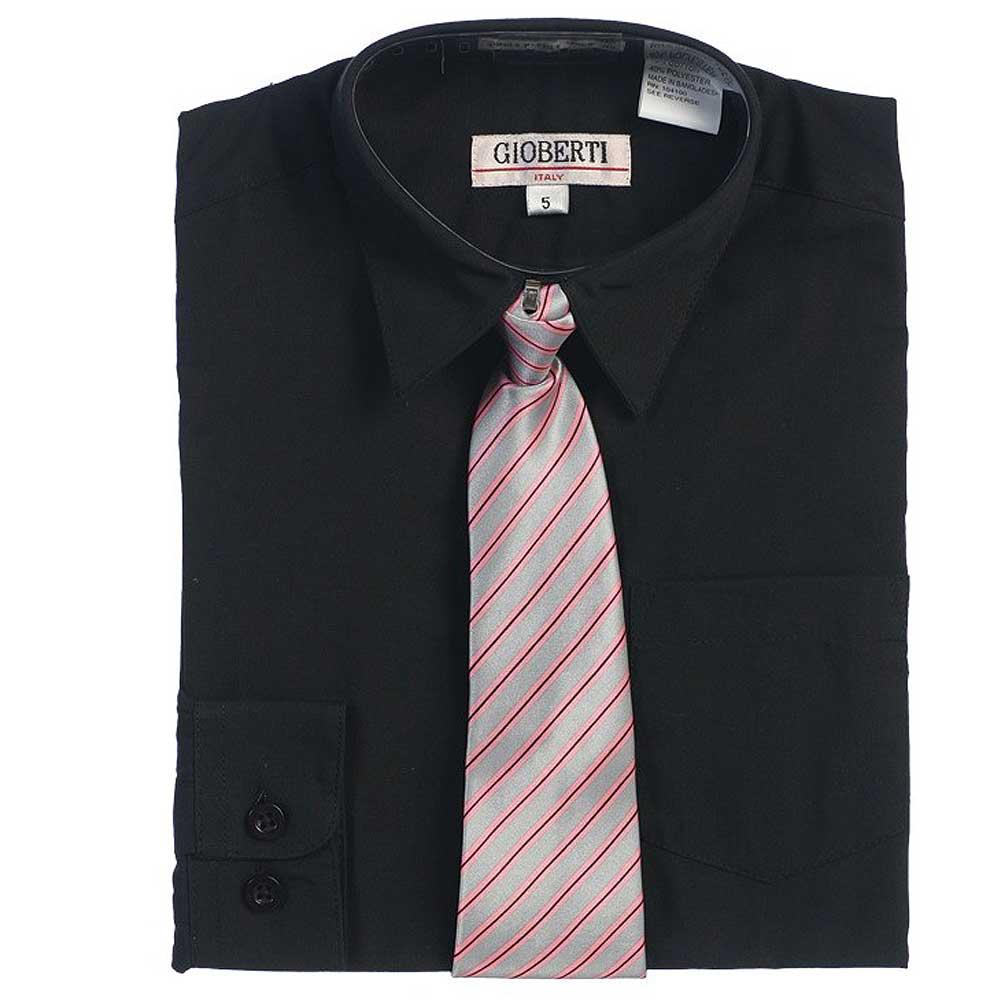 Black Button Up Dress Shirt Pink Gray Striped Tie Set Boys 5-18 ...