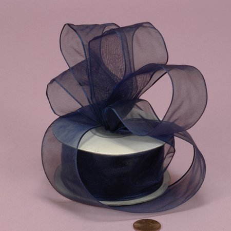 Navy Blue Solid 7/8 inches x 25 yards Sheer Organza Wired Ribbon